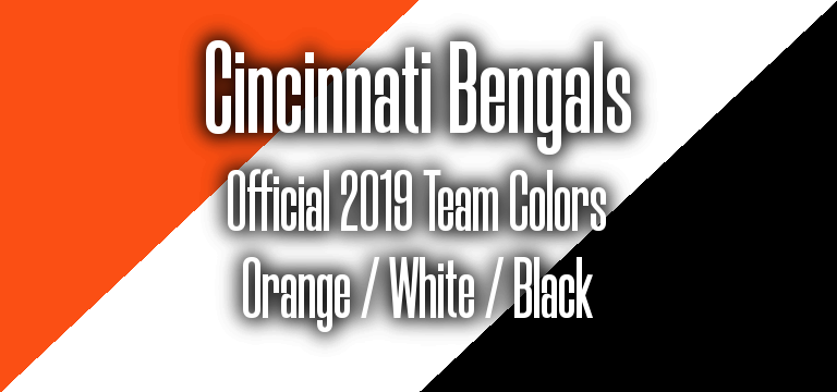Official 2019 NFL Team Pantone color codes:  Cincinnati Bengals