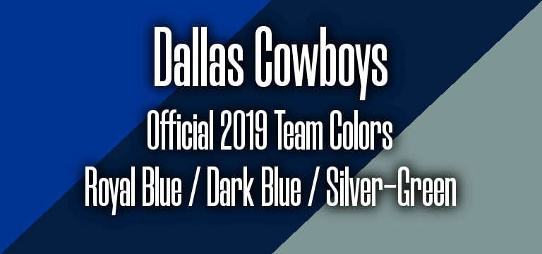 Official 2019 NFL Team Pantone color codes: Dallas Cowboys