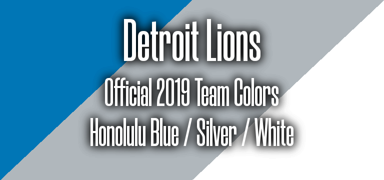Official 2019 NFL Team Pantone color codes: Detroit Lions