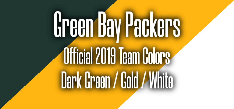 Official 2019 NFL Team Pantone color codes: Green Bay Packers
