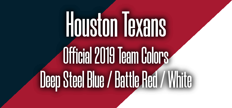 Official 2019 NFL Team Pantone color codes:  Houston Texans