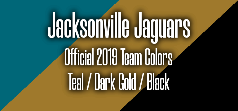 Official 2019 NFL Team Pantone color codes:  Jacksonville Jaguars