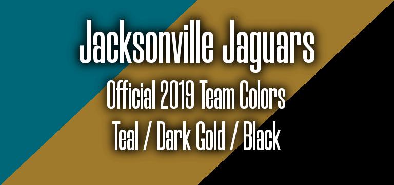 Official 2019 NFL Team Pantone color codes:  Jacksonville Jaguars