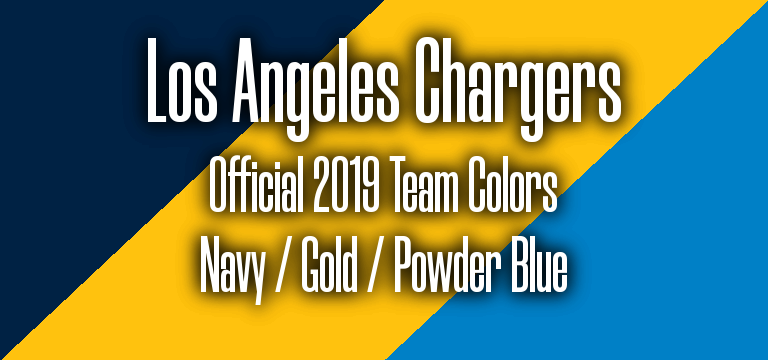 Official 2019 NFL Team Pantone color codes: LA Chargers