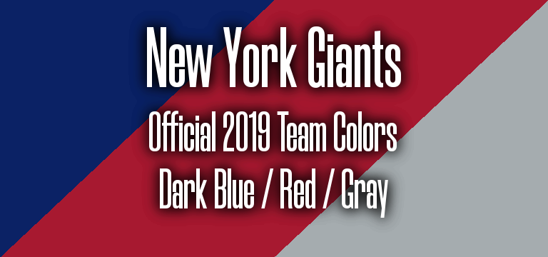 Official 2019 NFL Team Pantone color codes: New York Giants