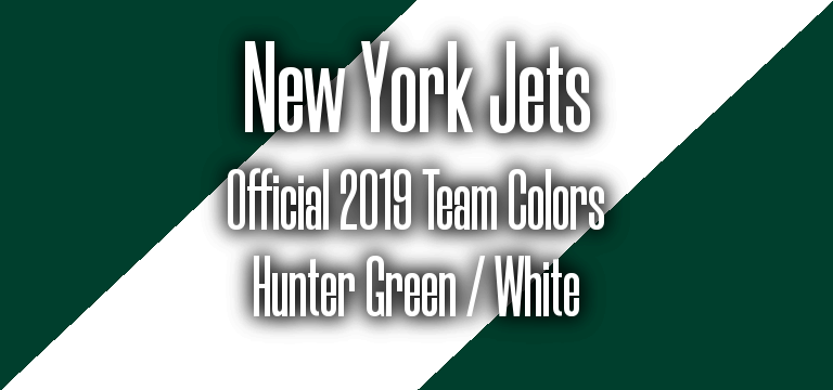 Official 2019 NFL Team Pantone color codes:  New York Jets