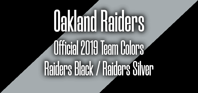 Official 2019 NFL Team Pantone color codes:  Oakland Raiders