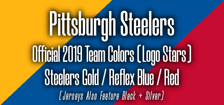 Official 2019 NFL Team Pantone color codes:  Pittsburgh Steelers