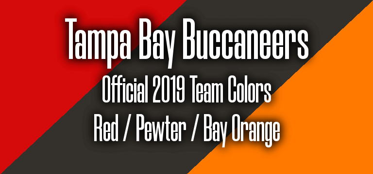 Official 2019 NFL Team Pantone color codes: Tampa Bay Bucs