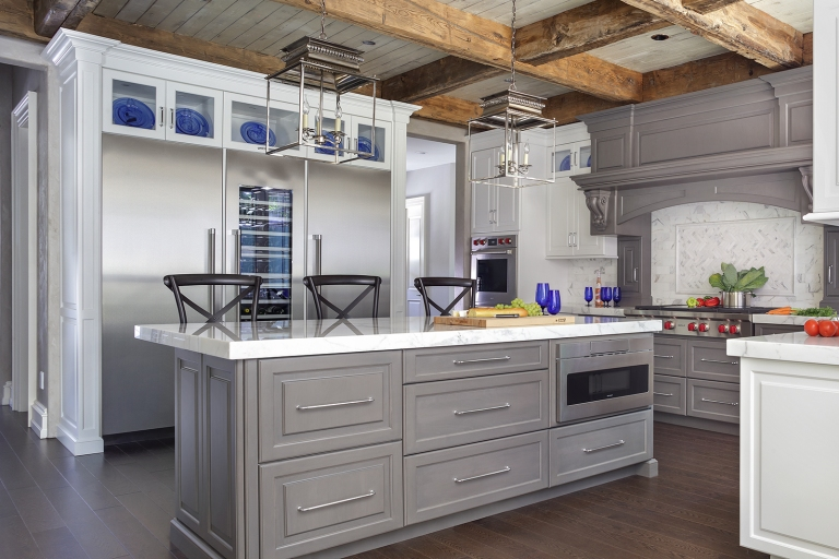 Peter Salerno Inc.'s reclaimed wood beams in transitional kitchen design with pops of rich Princess Blue, 2019.
