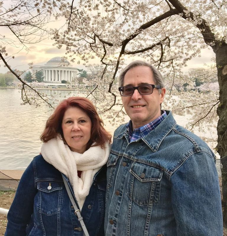Tracy and Peter Salerno in Washington, DC, during the National Cherry Blossom Festival.